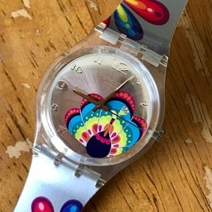 Swatch watch colorful peacock design